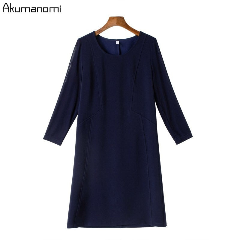Women Clothing Blue O-neck Three Quarter Sleeve Spring Dress