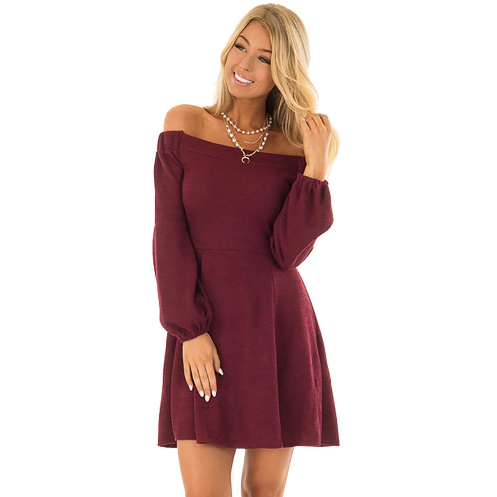 Autumn Winter Fashion Sexy Slash Neck Party Dress