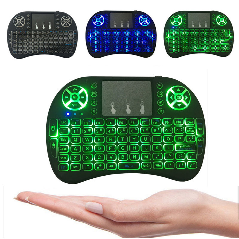Backlit i8+ Air Mouse Mini Wireless Keyboard 2.4GHz 3 Color Touchpad Handheld for Android TV BOX X96 Mini Laptop Backlight Remote