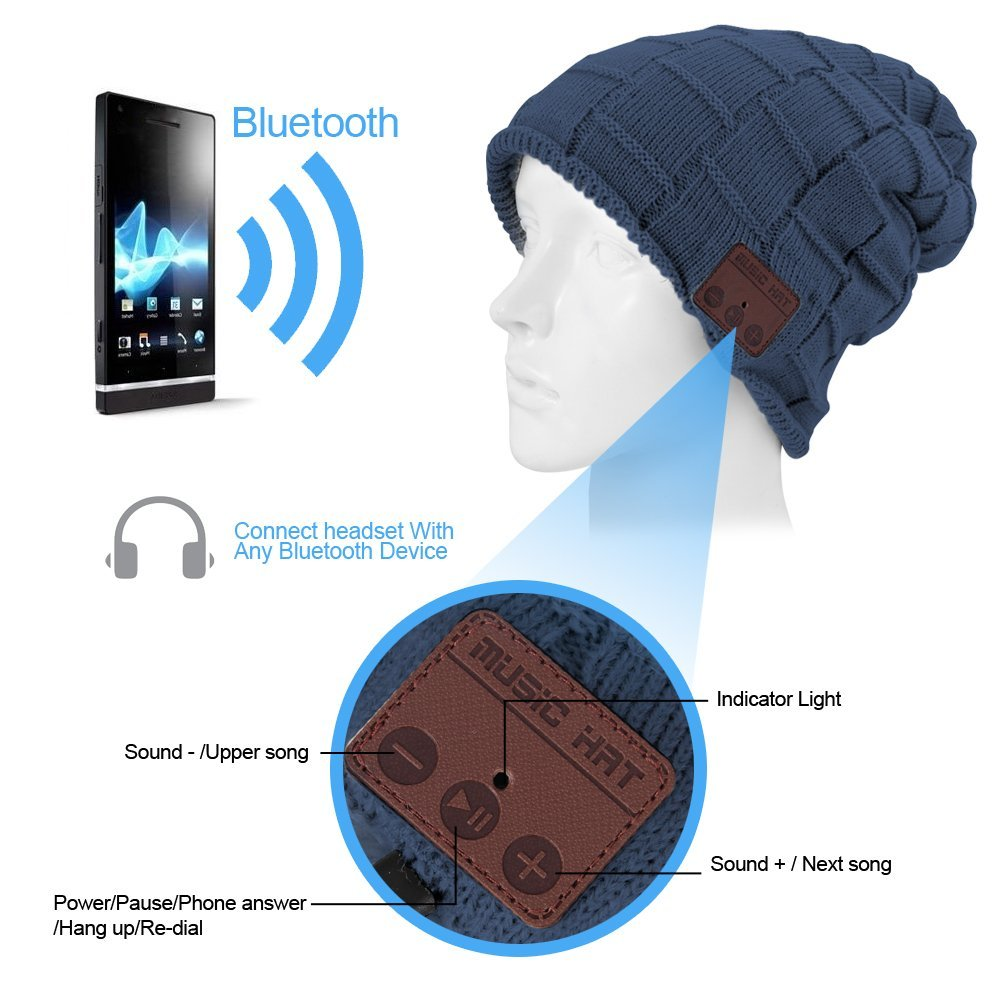 Bluetooth Beanie Music Warm Hat Cap with Wireless Headphone Headset Stereo Speaker Mic