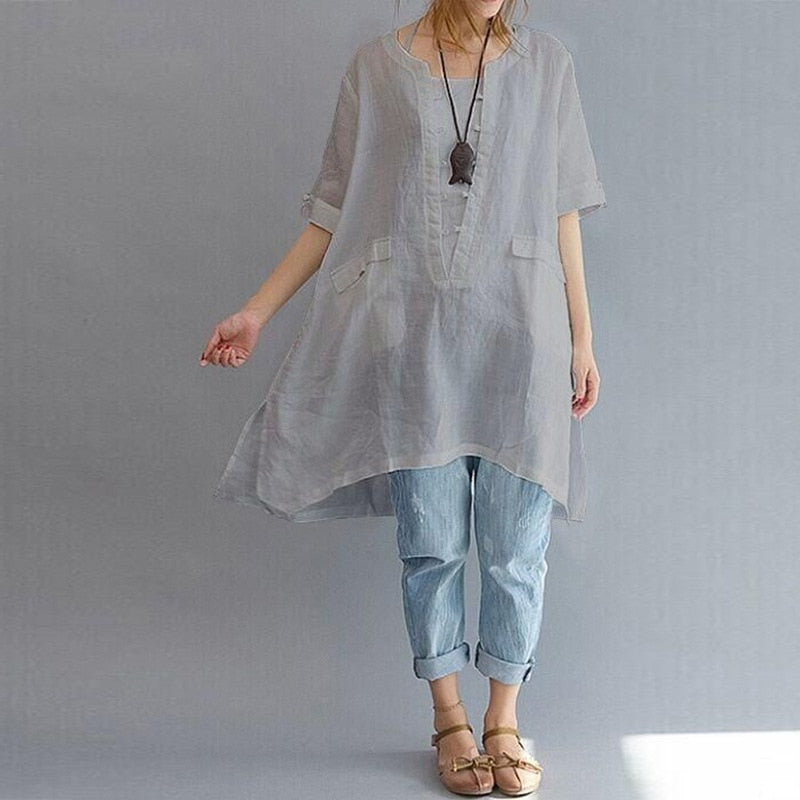 Loose Casual Wild Long Short-sleeved Shirts