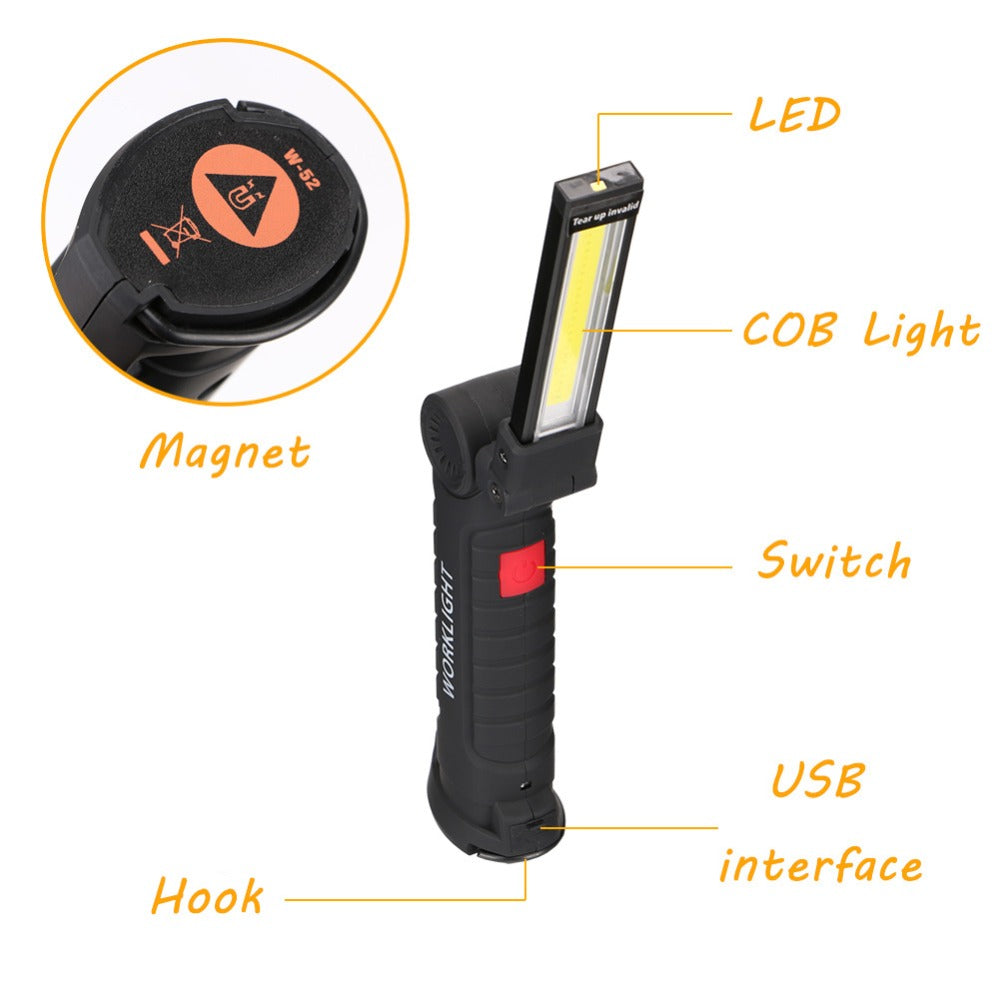 COB LED Flashlight Torch USB Rechargeable LED Work Light Magnetic COB Hanging Hook For Outdoor