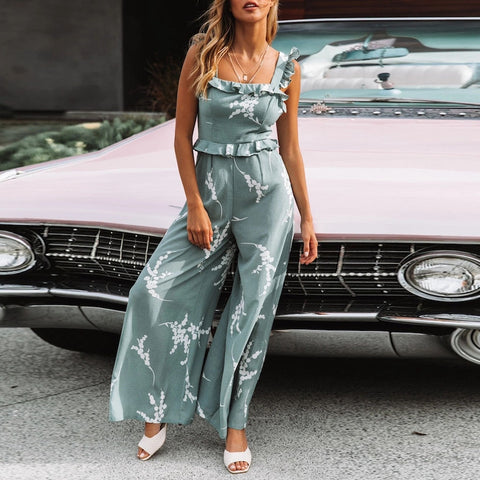 Casual Women Jumpsuit Ruffled Print Sleeveless Jumpsuit Summer Ladies High Waisted Playsuit