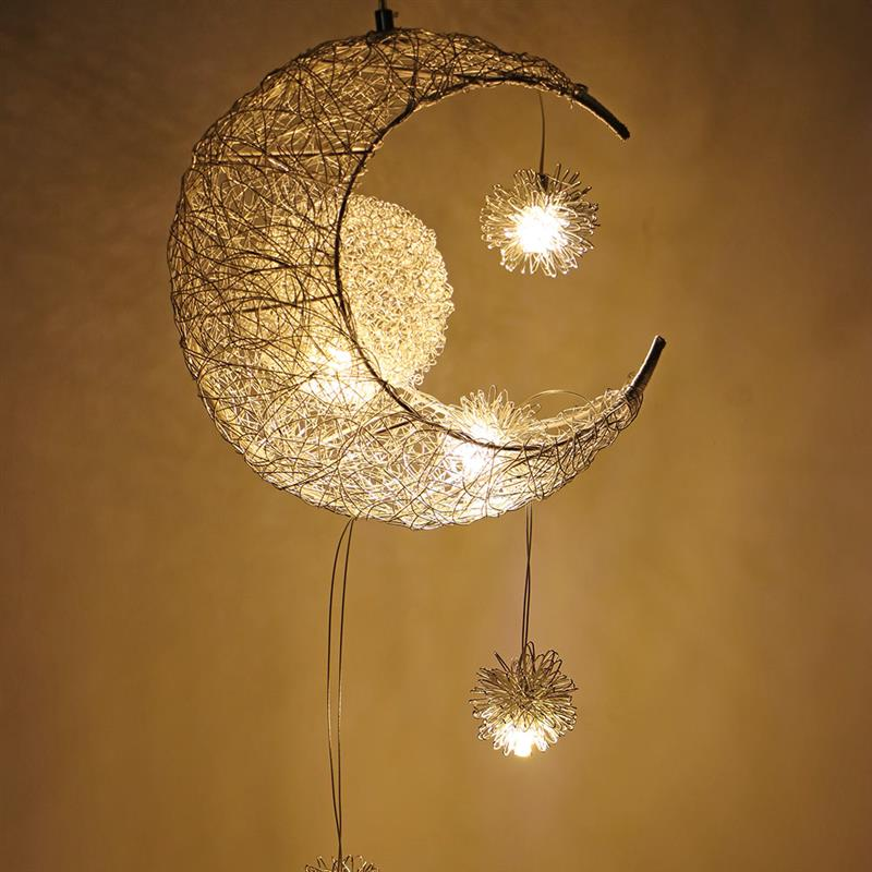 Modern Ceiling Pendant LED Moon Star Chandelier Children Bedroom Hanging Lamp