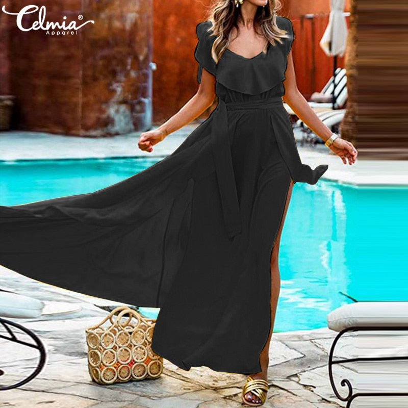 Bohemian Style Women Summer V-neck Sleeveless High Split Dress Belted Maxi Long Vestidos