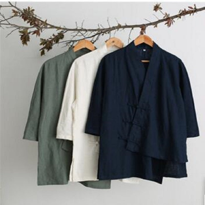 Chinese Linen Irregular Design Retro Plus Size Shirt