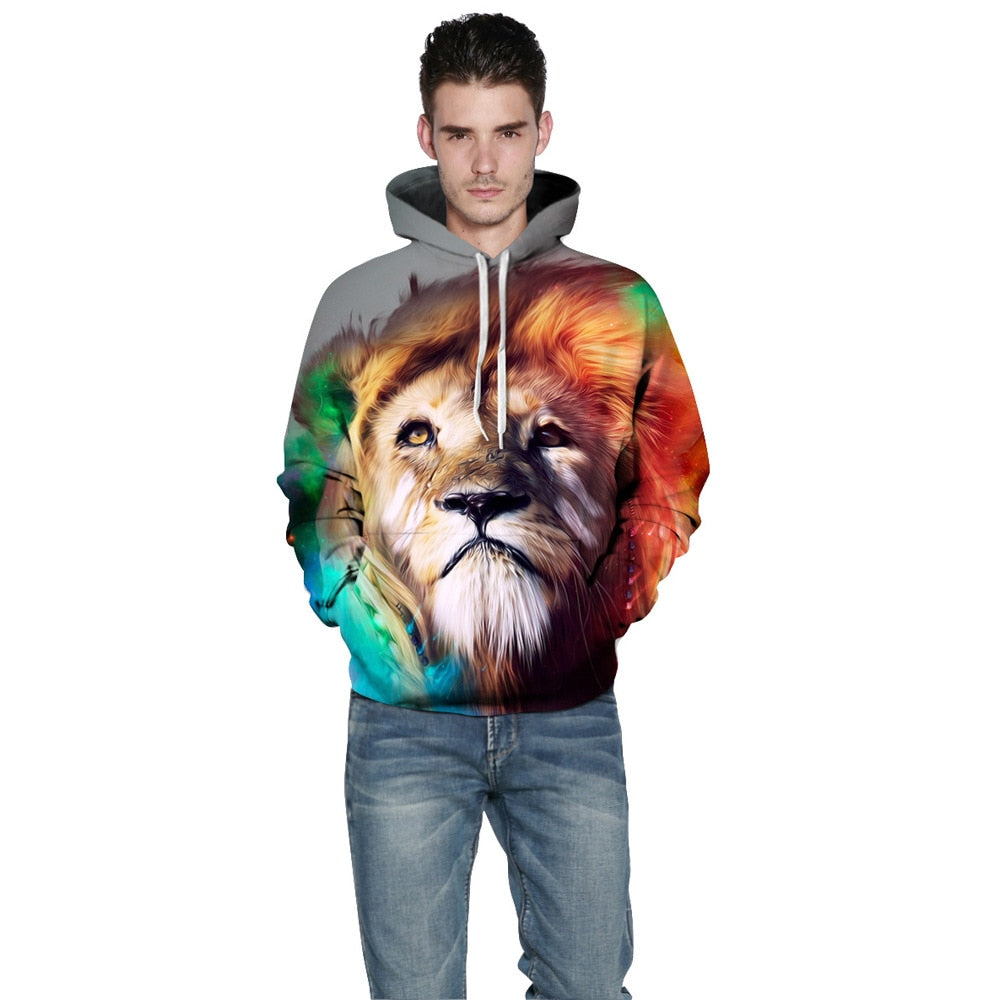 Couples 2019 new lion head digital 3D printing hooded long-sleeved fashion sweatshirt