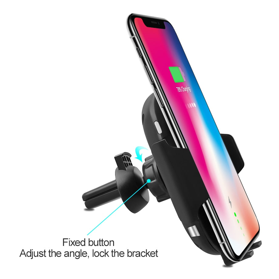 Automatic Car Holder Qi Wireless Charger For iPhone XS MAX XR X 8 Plus Samsung S8 S9