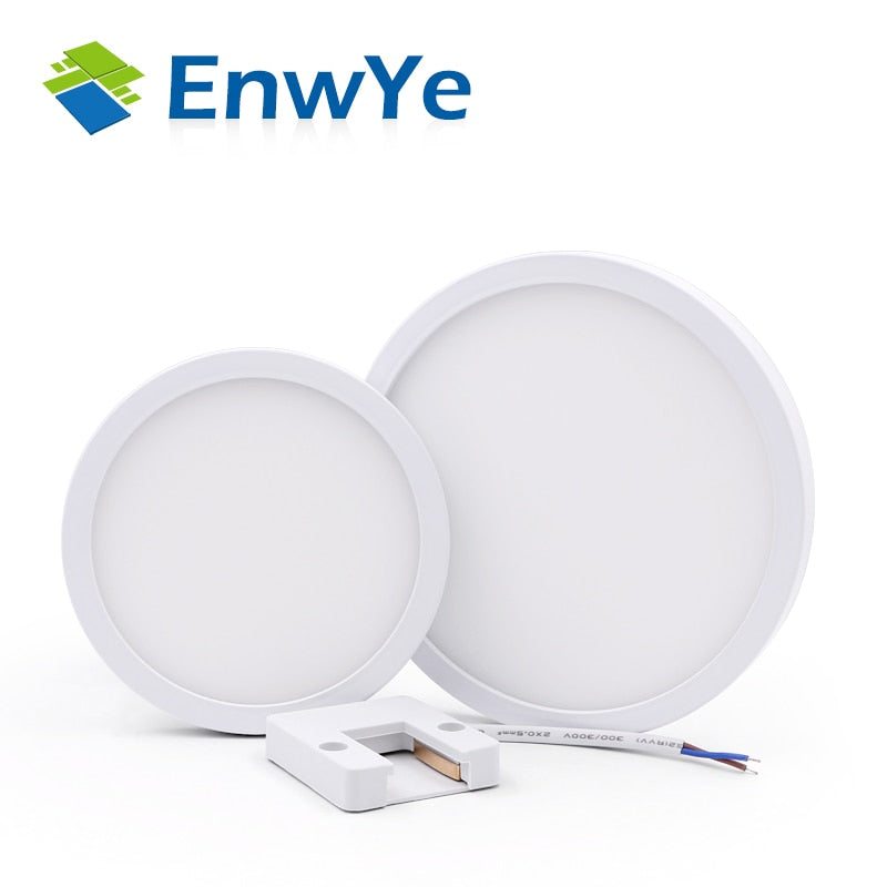 EnwYe 6W 9W 13W 18W 24W LED Circular Panel Light Surface Mounted led ceiling light AC 85-265V lampada led lamp