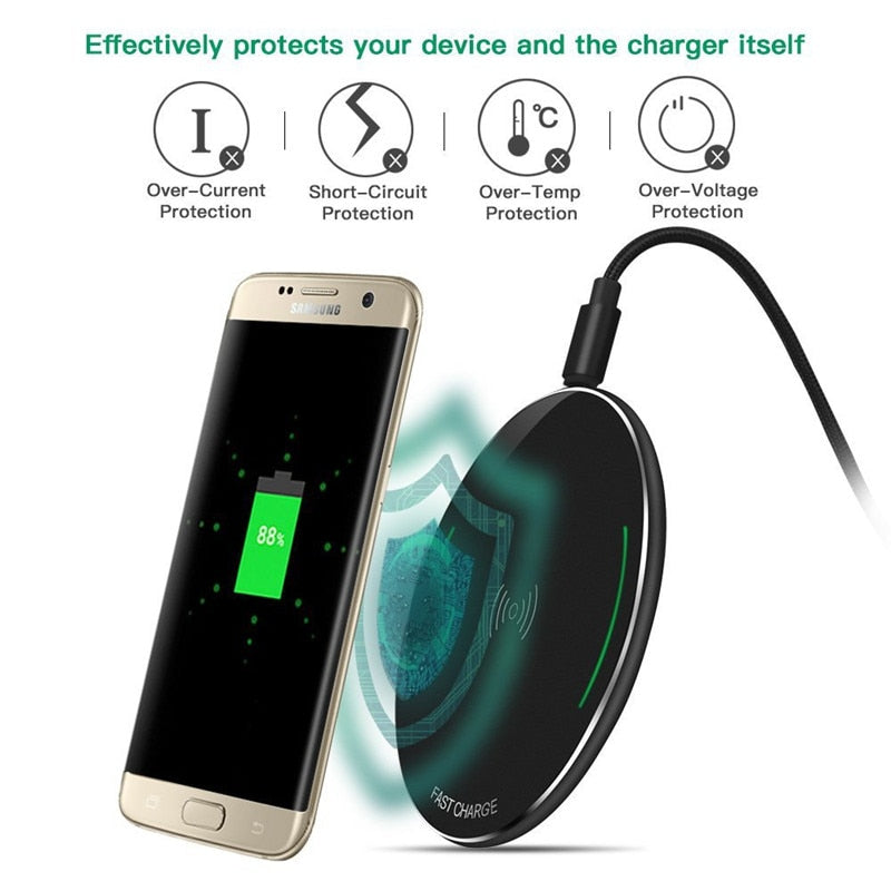 Fast Wireless Charging Pad For iPhone 8 Plus X & Galaxy S8 S7 S6 Note 8 For All Qi-Enabled Phone Charger