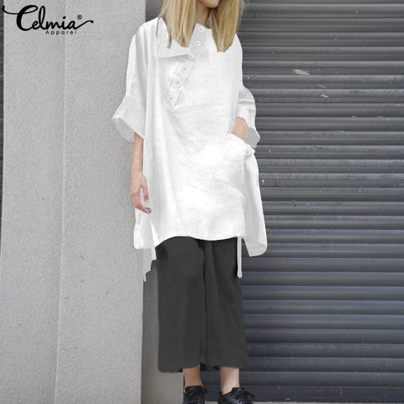 Vintage Linen Summer  Casual Loose Bottons Asymmetrical Hem Shirts