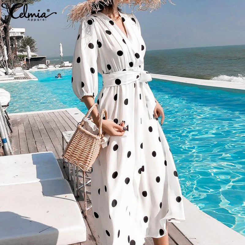 Summer Women's Dress Korean Style V-neck Maxi Long Casual 3/4 Sleeve Belt Dot Print Vestidos Plus Size