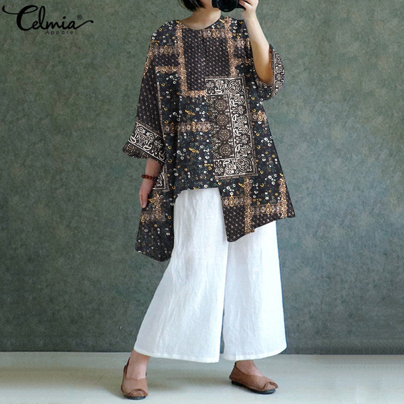 Women Vintage Printed Casual Loose Irregular Hem Linen Tunic Tops