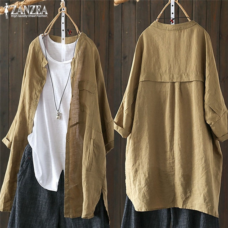 Plus Size Tunic Tops Women's Blouse Button Down Shirts Fashion Long Sleeve Cardigans Patchwork Casual Top 5XL