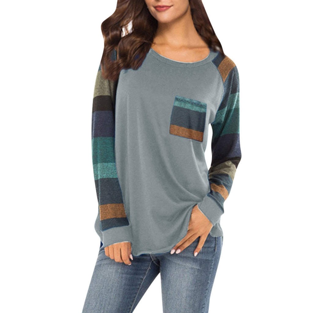 Women Fashion Stripe Sleeve Patchwork Casual Top Loose Long Sleeve Tops