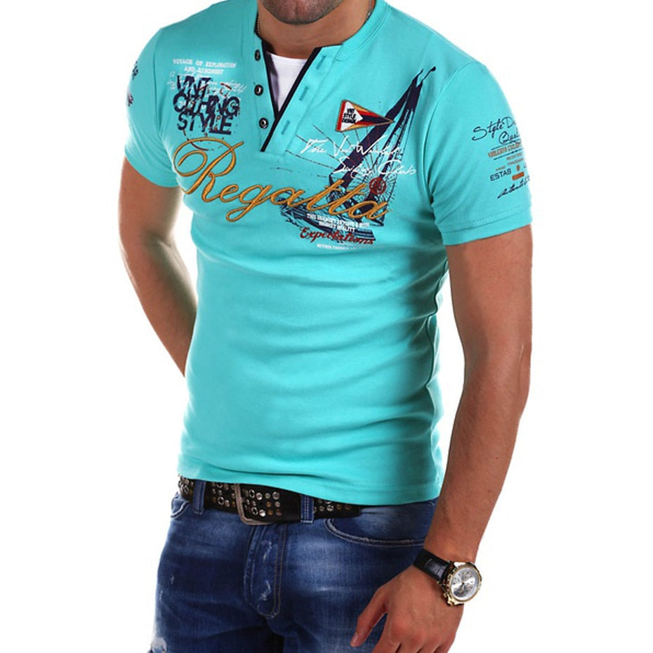 Men's Fashion Personality Cultivating printed Short-sleeved T Shirt