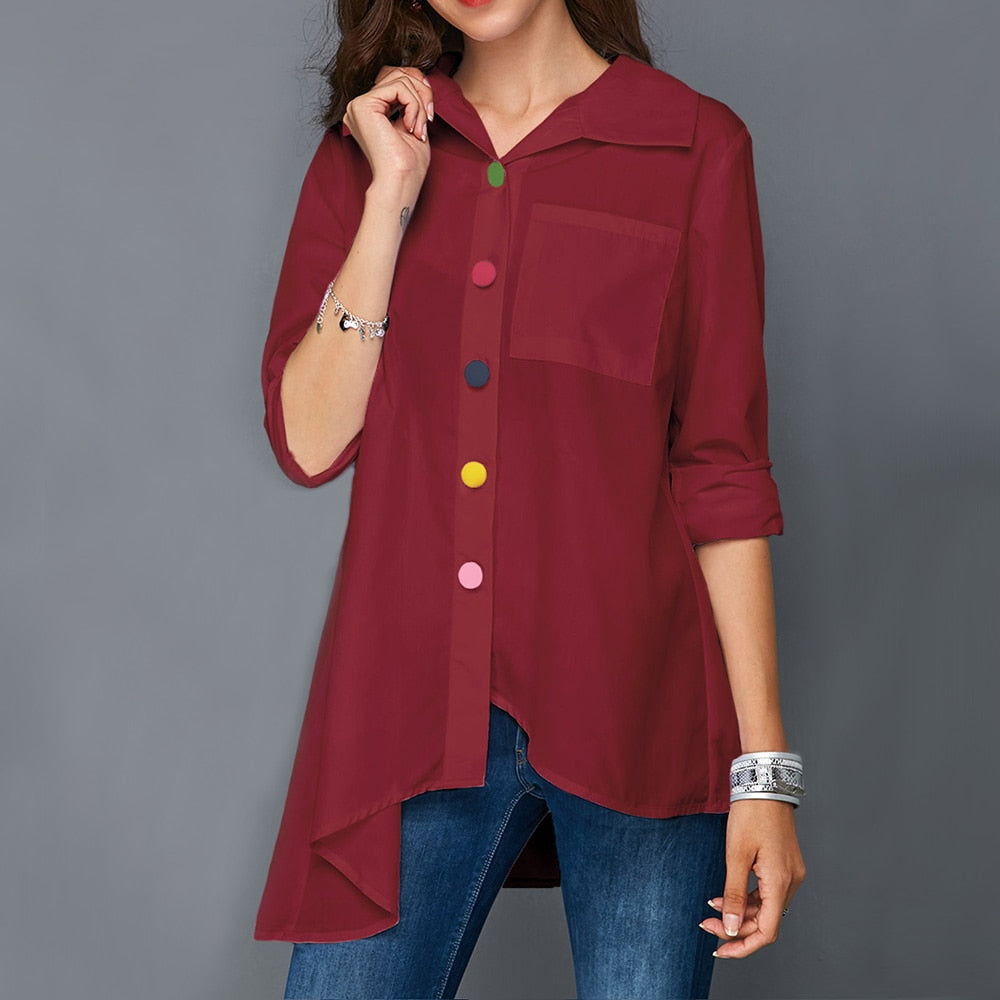 Women's White Shirt Top Colorful Botton Anomalistic Long Sleeve Summer Tunic Fashion Woman Blouses