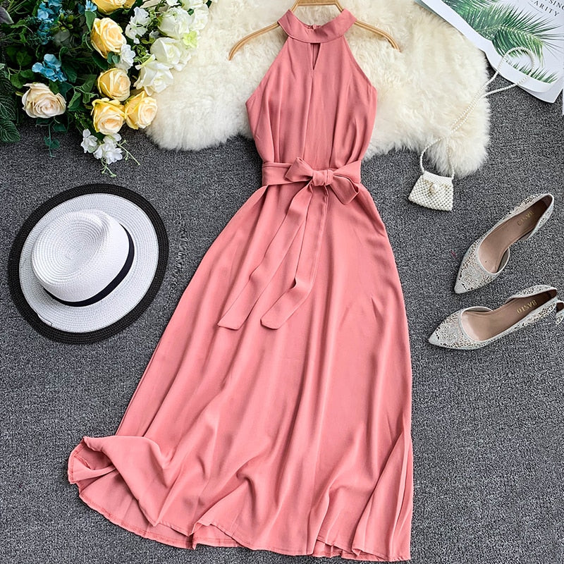 Women Sexy Hanging Sleeveless O Neck Sash Tie Up Solid Bohemia Dresses