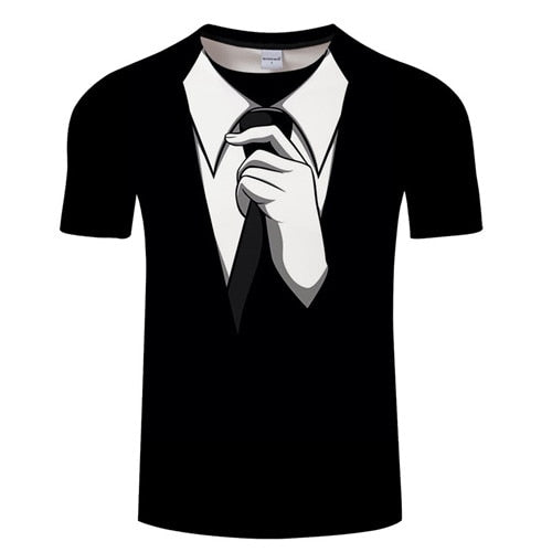 Hot Sale 3D T Shirt Men Fake Suit Uniform Print Short Sleeve Compression Shirt