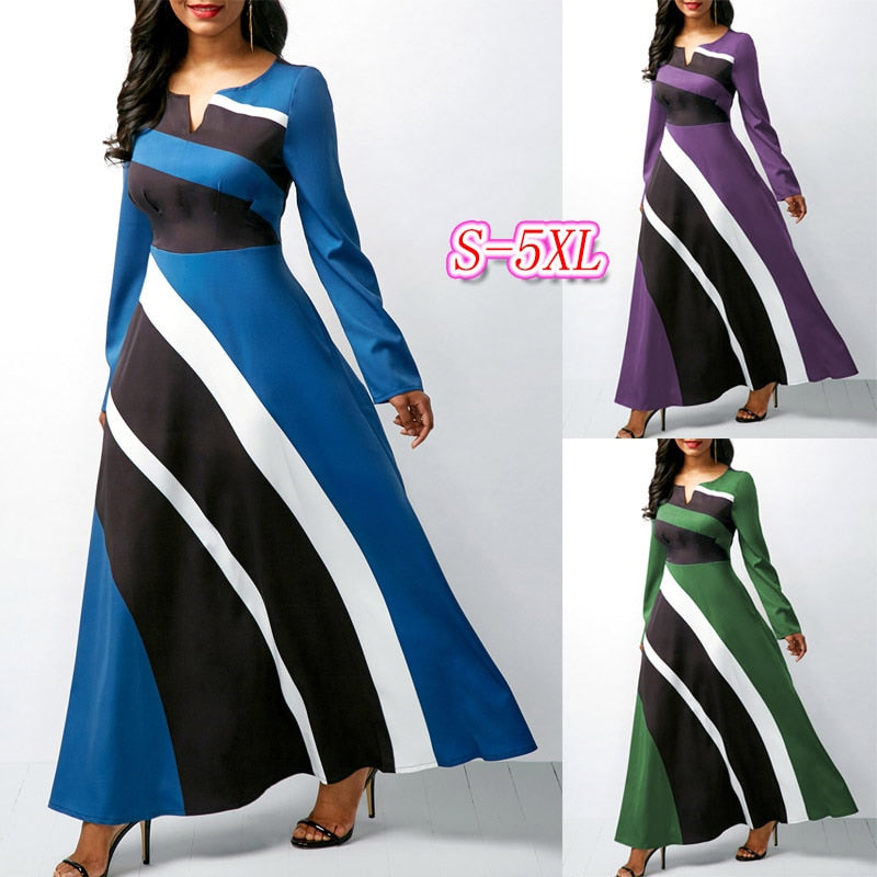 Elegent fashion style summer women beauty plus size long sleeves long dress S-5XL