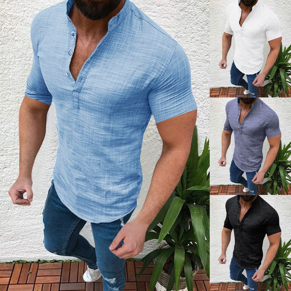 Men's Spring Autumn Summer Casual Cotton Linen Loose Short Sleeve Tee Shirt S-2XL
