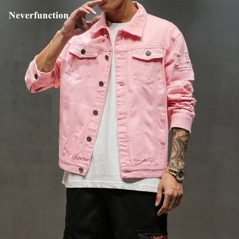 New Plus Size 5XL Pink black Ripped Denim jeans Hip Hop Streetwear Holes Casual Fashion Solid Coat