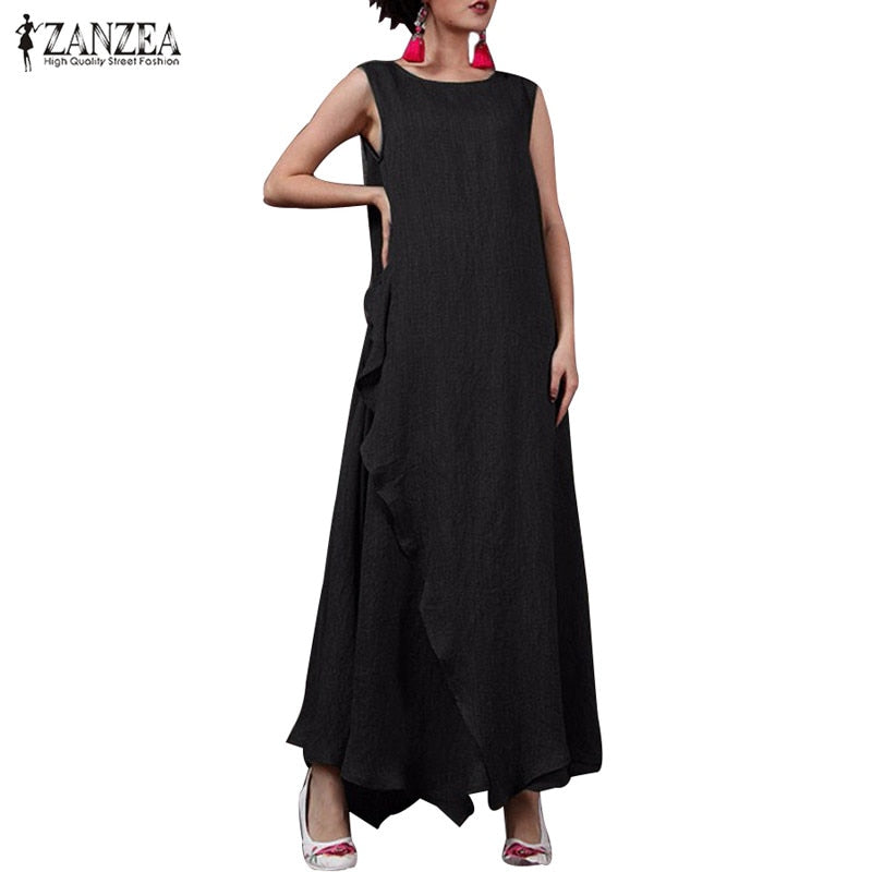Summer Sleeveless Long Maxi Dress Women Casual O Neck Ruffled Loose Dresses Fashion Solid Split Sundress