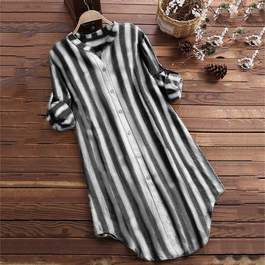 Womens Fashion Long sleeve casual Button Up Pullover Cotton Striped Top