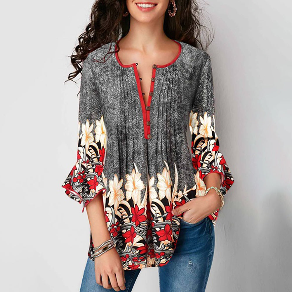Floral loose Women Button V-Neck New Blouses Women Casual Shirt