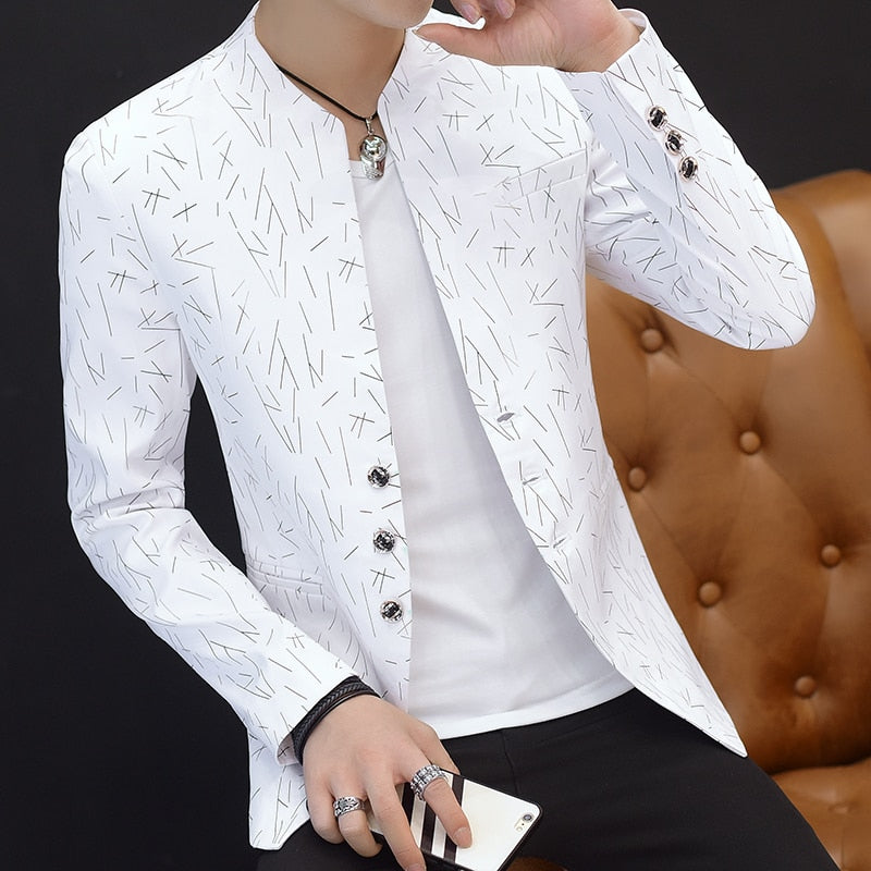 HO 2019 Men 's casual collar collar suit youth handsome trend Slim print suit