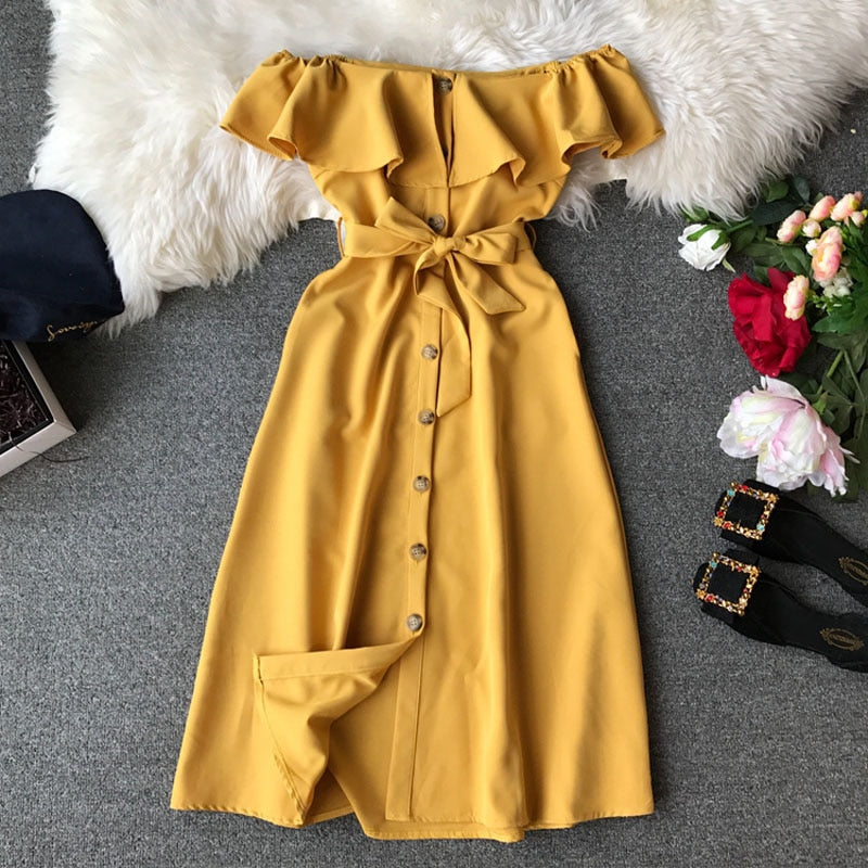 Women's slash neck elegant solid color collar off-shoulder Slim ruffled belt long dress