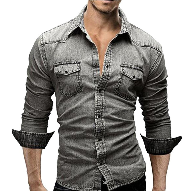 Denim Men Cotton Fashion Autumn Slim Long Sleeve Stylish Jeans Shirt