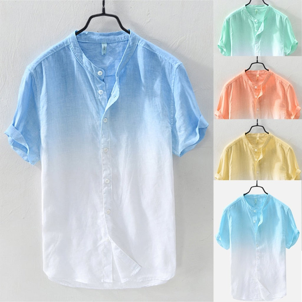 Summer Men Breathable Collar Hanging Dyed Gradient Linen Beach Shirts