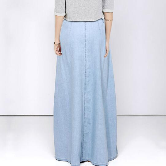 Spring Denim Women Single-breasted jeans Maxi Skirts