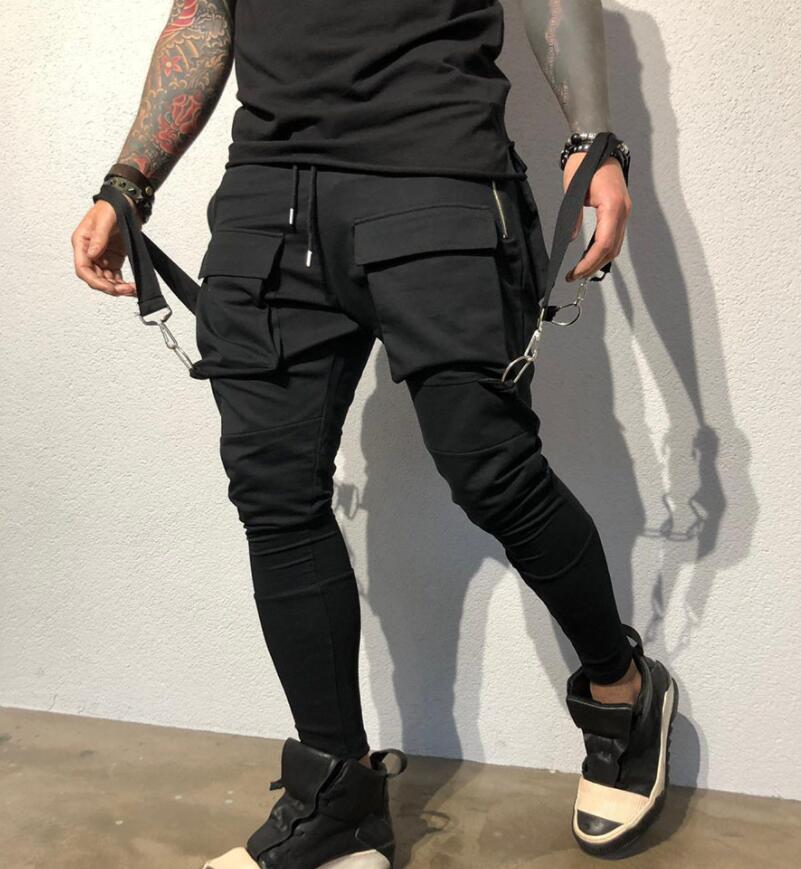 New Side Pockets Pencil Hip Hop Patchwork Cargo Ripped Sweatpants