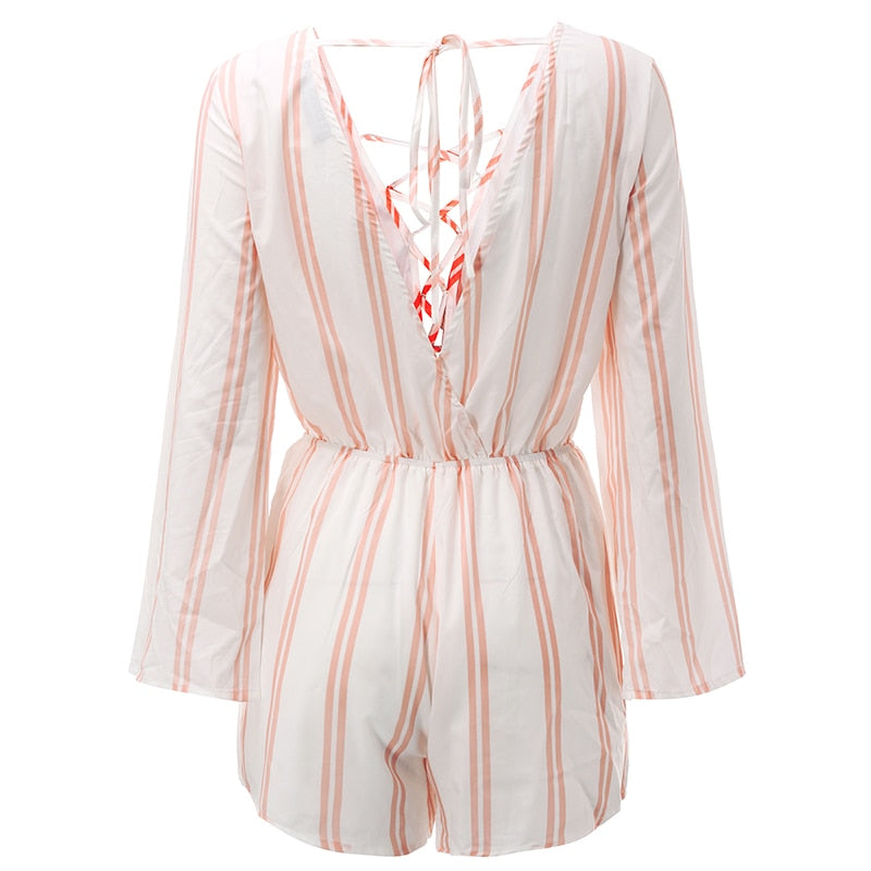 Summer Pink Sexy Lace Up Striped Short Hollow Out Women Jumpsuits
