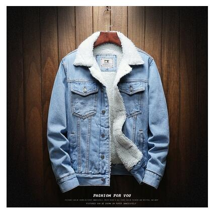 Men Light Blue Winter Jean Outerwear Warm Denim Large Size Wool Liner Thicker Winter Jackets