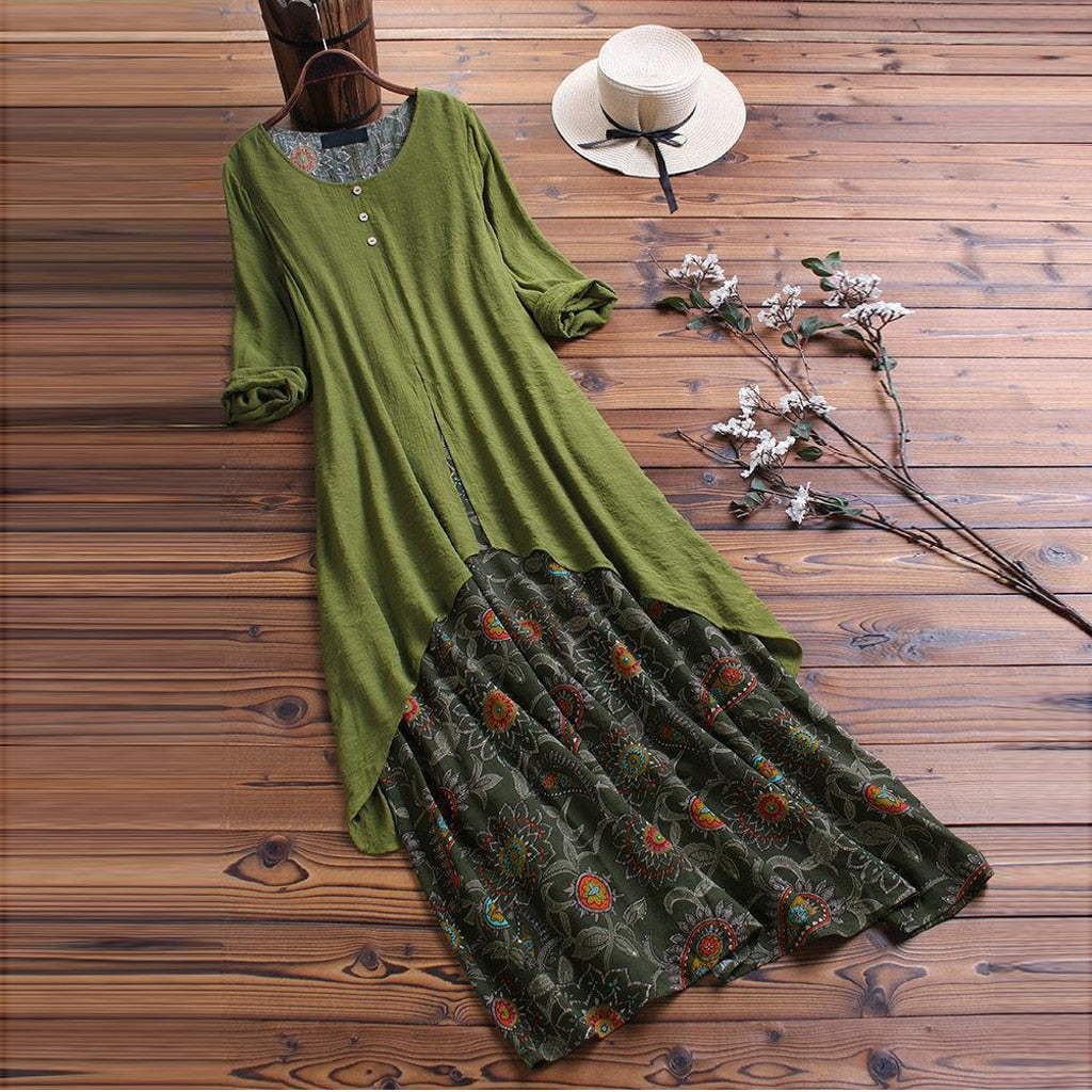 Vintage Retro Women Long Ladies Causal Floral Printed Fake Two-Piece Long Sleeves O-Neck Maxi Dresses