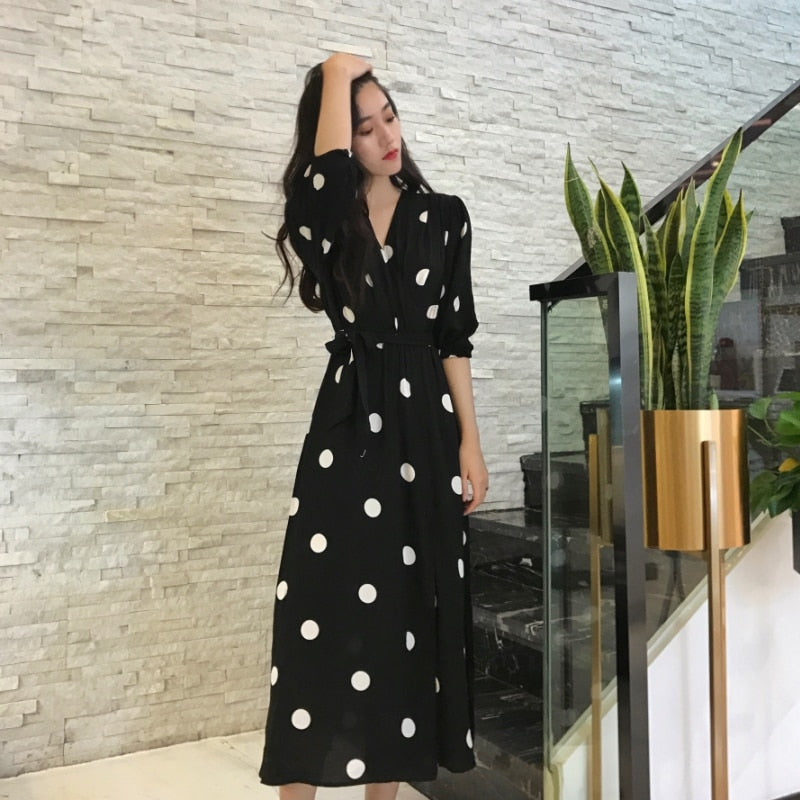 Summer Women's Korean Style Fashion V-neck Ladies Long Casual Half Sleeve Dot Dress