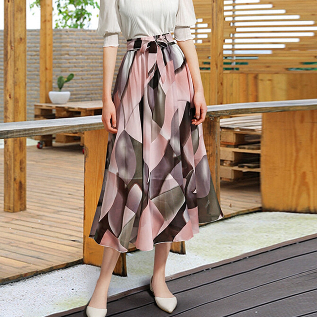 Women Fashion maxi long high waist Flower Print Ruffles Beach Party Elegant Midi Skirt