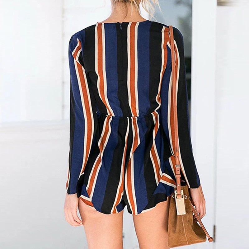 Sexy stripe deep v neck summer jumpsuit romper Women short playsuit