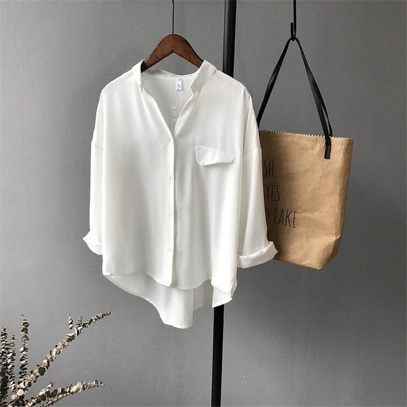 High quality Casual Chiffon white Women blouse shirt oversized Three Quarter