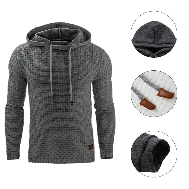 Men Hip Hop Long Sleeve Solid Color Hooded Sweatshirt