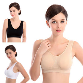 Womens Thin No Mat Athletic Vest Cotton Fitness Sports Yoga Stretch Bra Push Up Breathable Bras