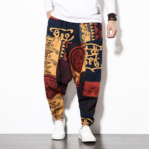 Cotton Linen Harem Pants Men Baggy Pants
