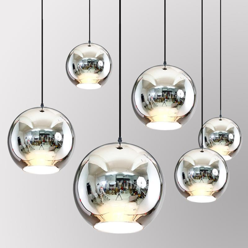 Modern Dixon Style Mirror Glass Ball Pendant Lights Copper Color Globe Lamp Pendant Light Modern Lighting Fixtures