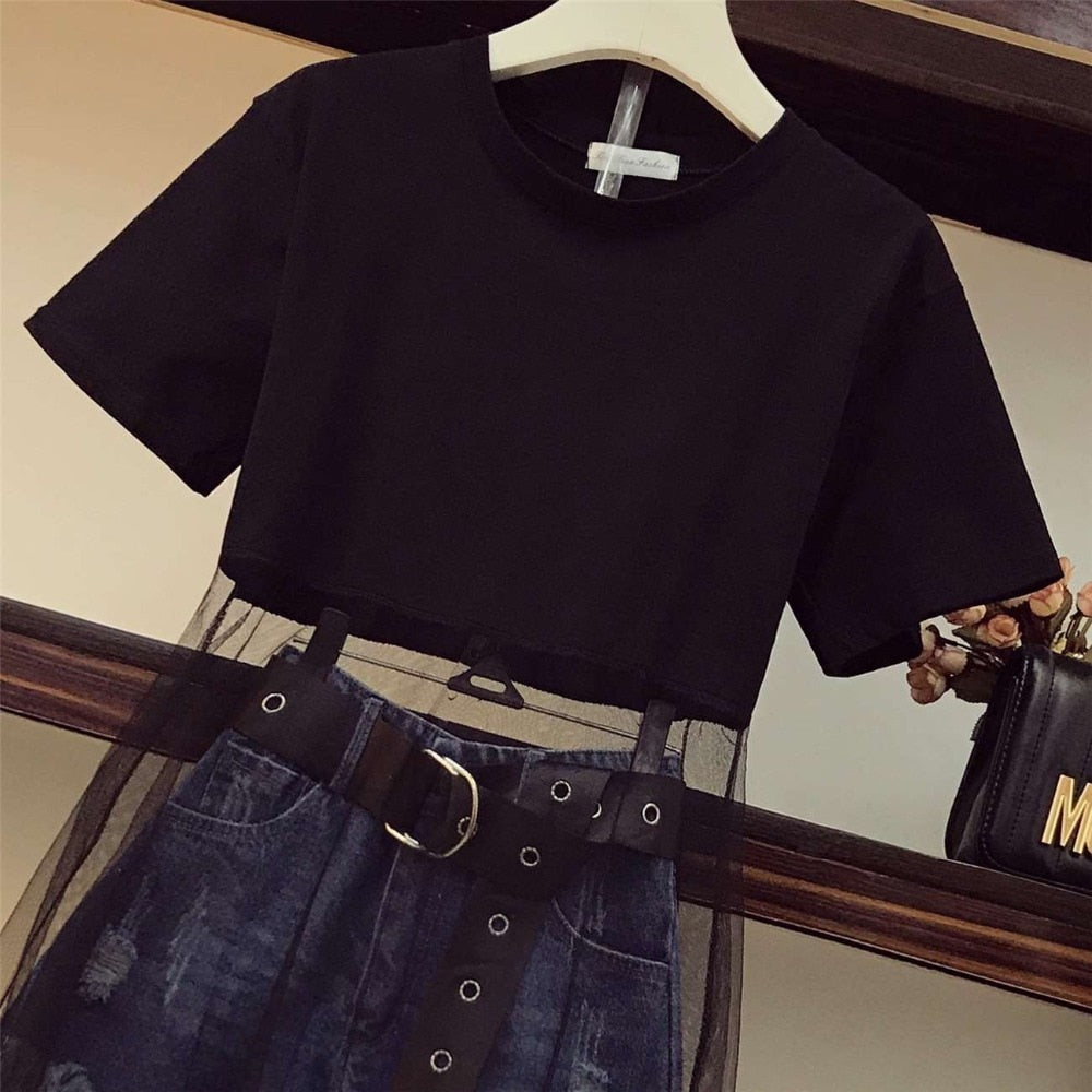 Luxury Quality 2019 Summer Women Mesh Patchwork Black Long T-shirt + Tassel Denim Shorts 2 Piece sets With Belt
