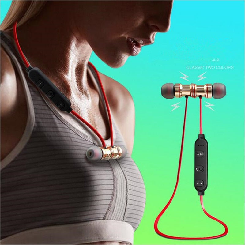 Magnetic Sport Bluetooth Earphone Metal Music Wireless Headphones for Mobile Phone