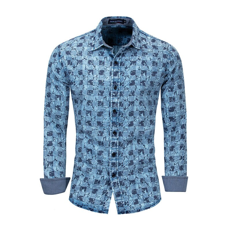 Men's Casual Denim Cotton Long Sleeve Breathable Shirt