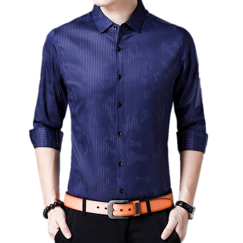 Mens Long Sleeve Striped Turn-down Collar Casual Silm Fit Printed Shirts